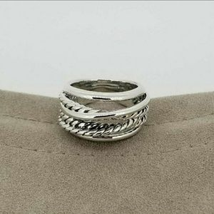 David Yurman Silver Crossover Narrow Ring
